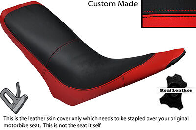 Black & Red Custom Fits Cagiva Supercity 125 Dual Leather Seat Cover