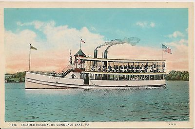 Steamer Helena on Conneaut Lake PA Postcard