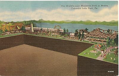 World's Only Miniature Park in Motion Conneaut Lake Park PA Postcard