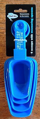 Chef Aid 4 Scoops With Measuring Spoon In Handle Blue Ideal For Flour, Sugar Etc