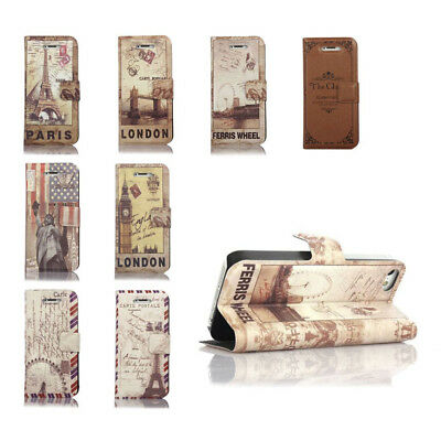Retro Classic Vintage Pu Leather Case Cover With Stand For Apple Iphone 5 5S Se