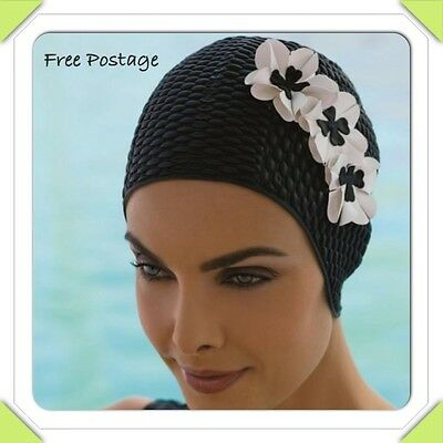 Ladies Vintage Style Bubble Swimming Hat Bathing Cap with Flowers by Fashy.