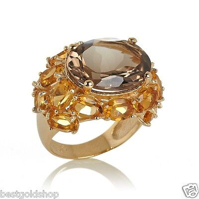 Technibond 13.59ct Oval Smoky Quartz Citrine Ring 14K Yellow Gold Clad Silver