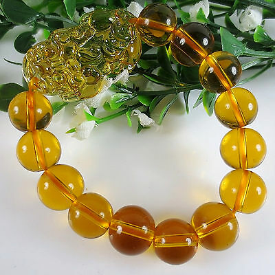 Feng Shui Citrine yellow crystal Pi Yao Pi xiu xie bracelet  for wealth -ML