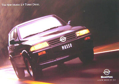 Ssangyong Musso 2.9 Turbo Diesel Original UK Sales Brochure No. SYB022 circa 90s