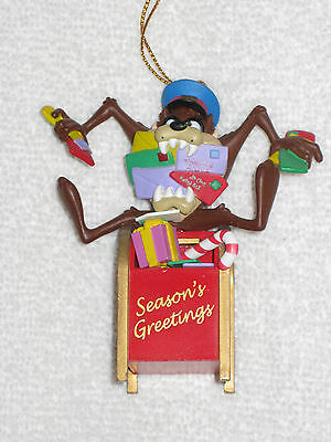 1996 Looney Tunes Tasmanian Devil Collectible Christmas Ornament TAZ Top Mailbox