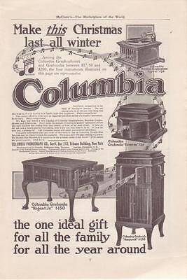 1911 Columbia Graphophone Magazine ad. Hornless Lyric, Regent Jr., Nonpareil, et