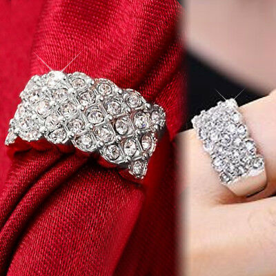 9K White Gold Gf R199 Simulated Diamond Engagement Wedding Solid Row Band Ring