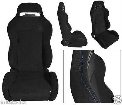 2 Black Cloth + Blue Stitch Racing Seats Reclinable + Sliders Pontiac New **