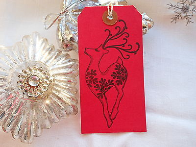 Christmas Gift Tags Handmade.10 Large Red Reindeer Christmas Gift Tags Handmade