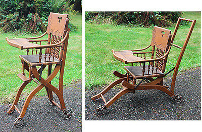 Antique High Chair & Stroller Combo