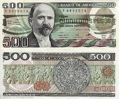 MEXICO 500 Pesos Banknote World Money Currency BILL South America Note p79b 1984