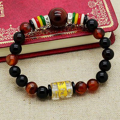 Feng Shui  Agate Crystal bracelet with six syllables to ward off evil energies