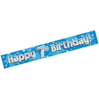 AGE 7 ' HAPPY BIRTHDAY ' PARTY  BANNER - HOLOGRAPHIC  - 7th BLUE BOY - NEW