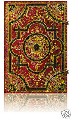 """Paperblanks Writing Journal Ultra Size Lined Ventaglio Rosso Brown 7""""x9"""" NWT"""