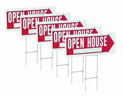 "5 Pack 10"" x 24"" Open House Sign & Frame by Hy Ko RS-803"