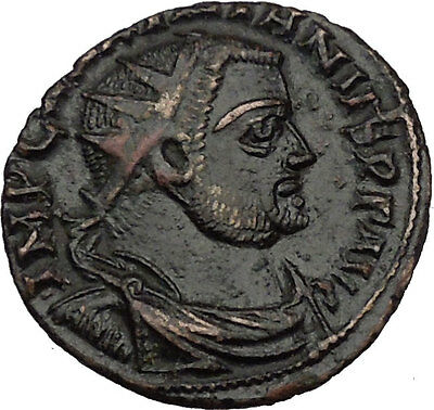 MAXIMIAN  receiving Victory from Jupiter 296AD Ancient Roman Coin i35976
