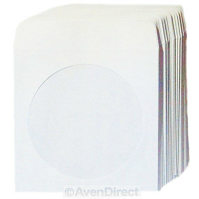 "100 Premium ""Mini"" sized White Paper Sleeve Window Flap CD DVD [FREE SHIPPING]"