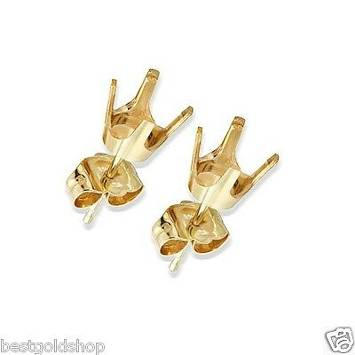 PRE-NOTCHED 4 Prong Cup Set Stud Earrings Mounting Settings Real 14K Yellow Gold