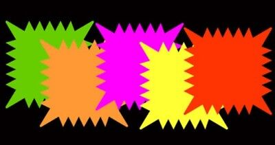 "Retail Sale Tags Cards 5""x 5""- 40pk Fluorescent Star Burst Square Neon NEOsplash"