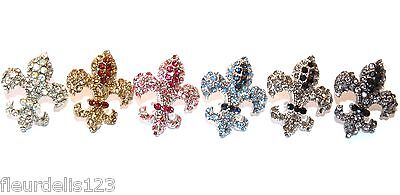 Beautiful Large Rhinestone Fleur de lis Stud Earrings- Choose Color