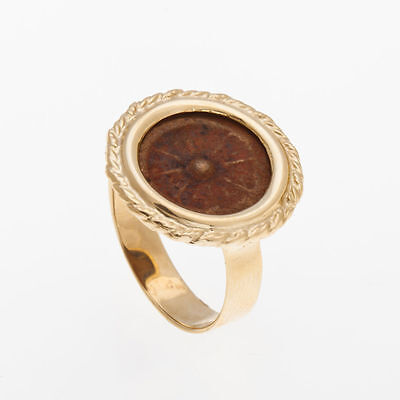 14K Yellow Gold - Antique Rare Bronze Ring, Widows Mite Coin Ring Unique, size 9