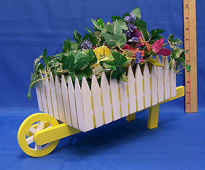 Painted Wood Wooden Wheel Barrel Easter Decorative Spring w/ Silk Flowers