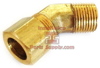 """1/2"""" Compression x 3/8"""" Male NPT Brass 45° Elbow Water Air Oil Gas Pipe Fitting"""