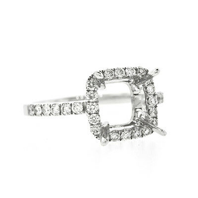 82df943959c80 74 CT. 18K White Gold Double Halo Round Cut Engagement Ring Setting ...