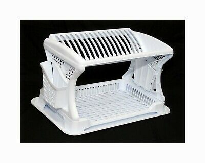 White Plastic 2 Layer Dish Drainer Rack Utensil Cutlery Draining Kitchen Home