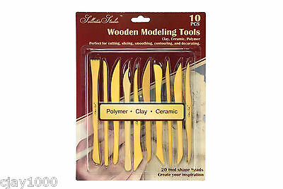 10PC Art Wooden Modelling Tools Polymer, Clay, Ceramic, Pottery, Sculpture