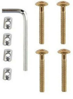 4 x Screw & Nut Kit For Beds Cots & Furniture. M6 x 50mm Allen Key Included  DIY
