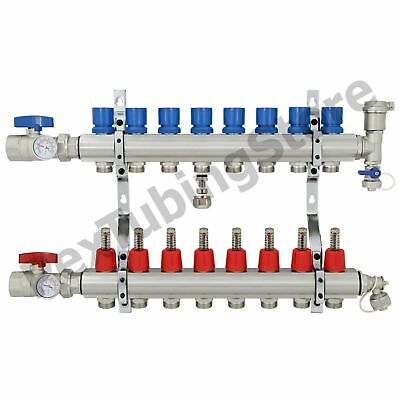 "8-Branch PEX Radiant Floor Heating Manifold Set - Brass, for 3/8"" 1/2"" 5/8"" PEX"