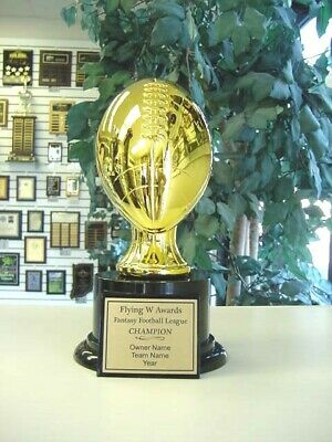 AWESOME FANTASY FOOTBALL TROPHY AWARD GOLD RESIN ON ROUND HIGH GLOSS BLACK BASE!