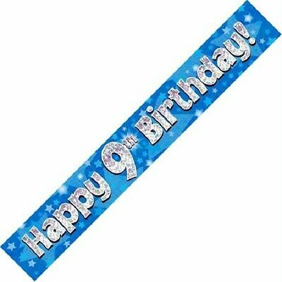 AGE 9 ' HAPPY BIRTHDAY ' PARTY  BANNER - HOLOGRAPHIC  -  9th BLUE BOY - NEW