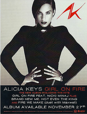Alicia Keys - Girl On Fire * LARGE PROMO STICKER * rare limited
