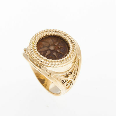 14K Yellow Gold Antique Rare Ring ,Bronze Widows Mite Coin Ring Unique, size 7.5