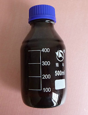 500ml,Amber Brown Reagent Bottle,Blue Plastic Lid,Graduation 400ml,Glassware