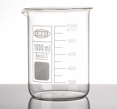 1000mL Glass Beaker,1L Low Form Beakers,Borosilicate 3.3 Glassware