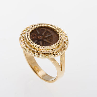 14K Yellow Gold Antique Rare Ring ,Bronze Widows Mite Coin Ring - Unique, size 6