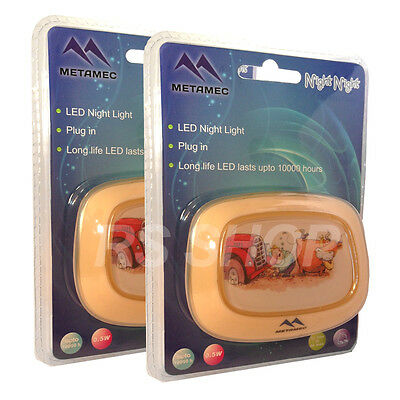 Children's 2X LED Plug In Automatic Baby Safety Night Light Security - Orange