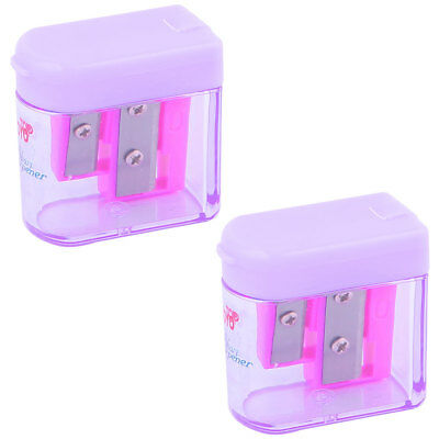 Purple Clear Hinged Cover Double Holes Pencil Sharpener 2 Pcs