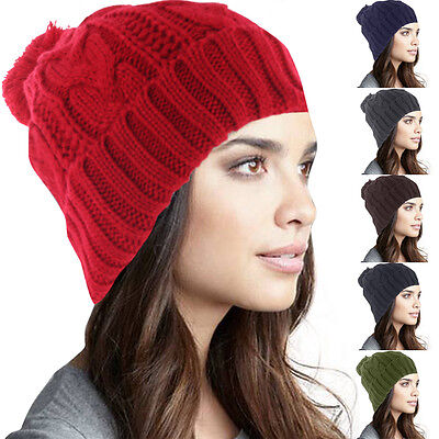 Womens Mens POM-POM Winter Knit Beanie Cap Hat Crochet  Ski Baggy Knit Beany
