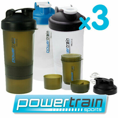 3x PROTEIN SUPPLEMENT DRINK BOTTLE SPORTS MIXER SHAKER BALL CUP SMARTSHAKE
