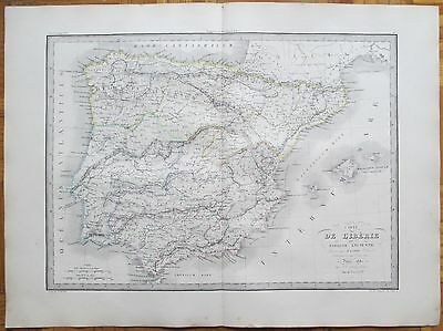 LAPIE: Large Detailed Map of Spain Historic Map - 68 x 50 cm - 1842