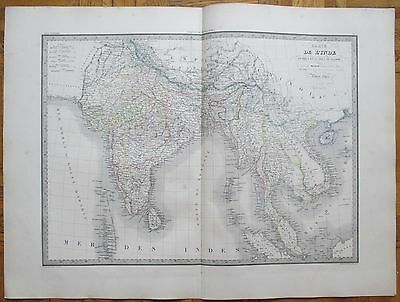 LAPIE: Large Detailed Map of India Thailand - 68 x 50 cm - 1842