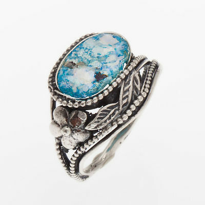 Beautiful 925 Sterling Silver Ancient Roman Glass Ring Custom Size, Oval, size 6