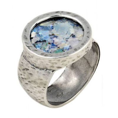925 Sterling Silver Ring, Ancient  Roman Glass, Antique size 5.5