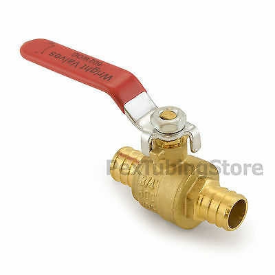 "(10) 3/4"" PEX Brass Ball Valves, Full Port, Crimp, Valve for PEX Tubing"