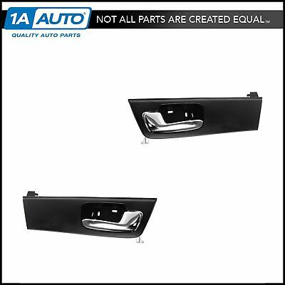 Door Handle Front Inner Inside Black & Chrome Pair Set for 06-11 Cadillac DTS